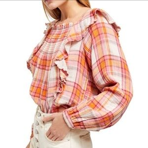 New Free People Sienna Plaid Pullover Top